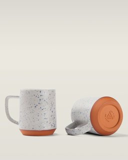 The Cloud Camp speckled ceramic mug.