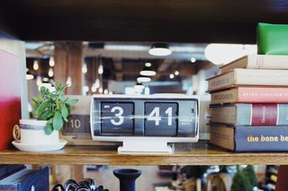 This beautifully-executed and minimal flip clock is a perfect shelf or nightstand companion.