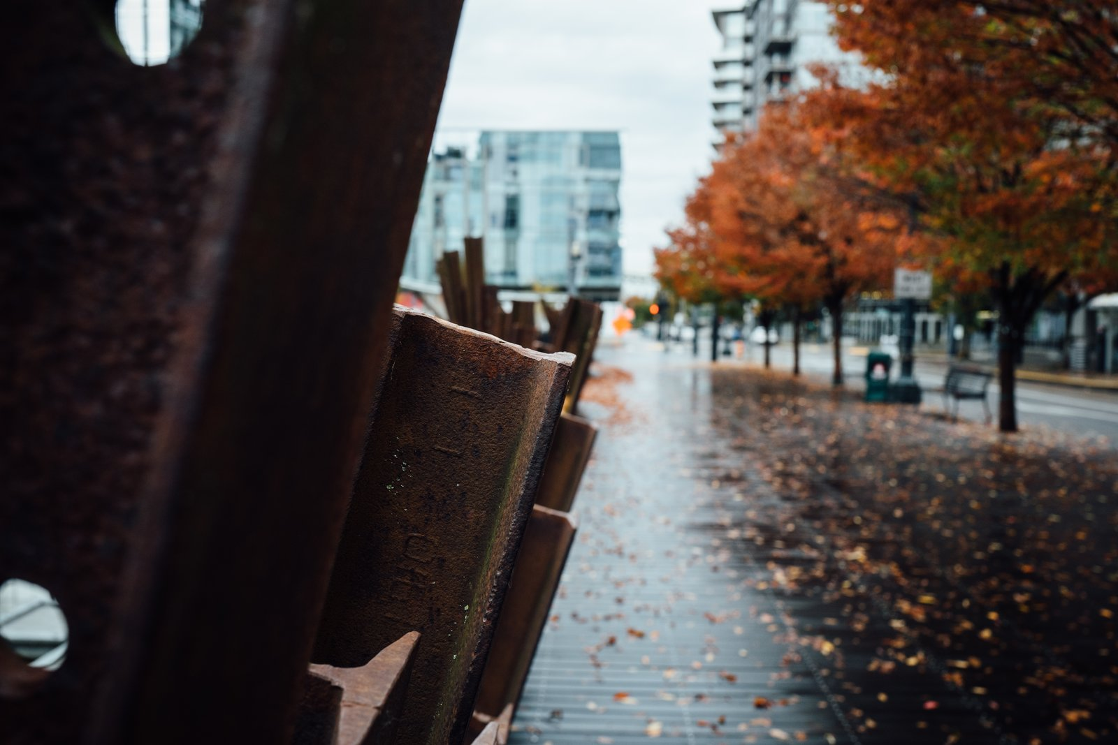 A dense moody shot from a rainy fall day in Portland's Pearl District.  Photo 8 of 10 in The Opinionated Leica Q