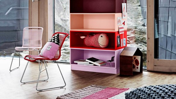 Large colorful stacking modules make a great addition to liven up a children's play room.