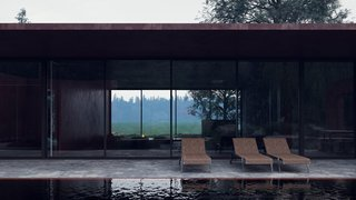 Large glass openings on virtually every side of the structure allow the structure to be engulfed by natural beauty. The flexible, open plan allows the owner to move walls and convert spaces into large areas for entertaining guests.