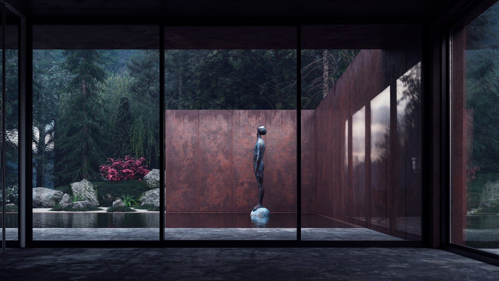 Concrete Patio, Porch, Deck and Windows A large copper statue gazes upward, inviting visitors to get lost in the rugged landscape.  Photo 4 of 6 in Rose House Blooms in Ukraine's Carpathian Mountains