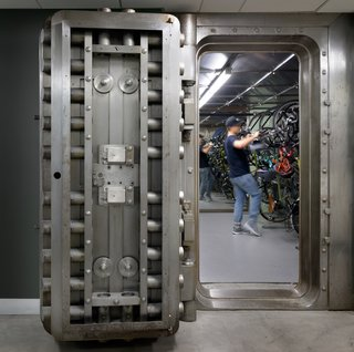 Portland is a bike-friendly city, and these massive vault doors create a memorable and secure space for employees to park their vehicles.