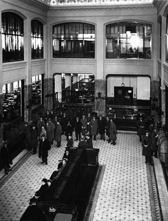 The large central bank hall circa 1932.