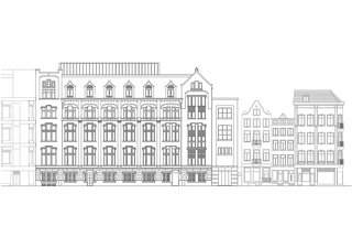 A rendering of the Kas Bank façade alongside adjacent neighborhood buildings.