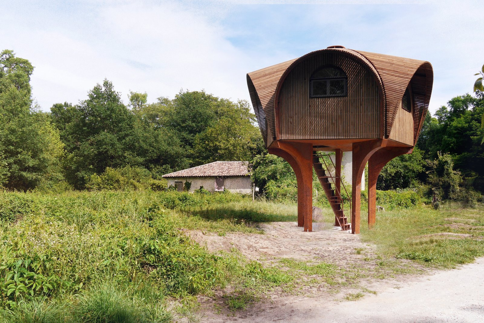 Photo 3 of 5 in Le Haut Perché Offers Free Shelter For Hikers in the Rustic Countryside of Bordeaux