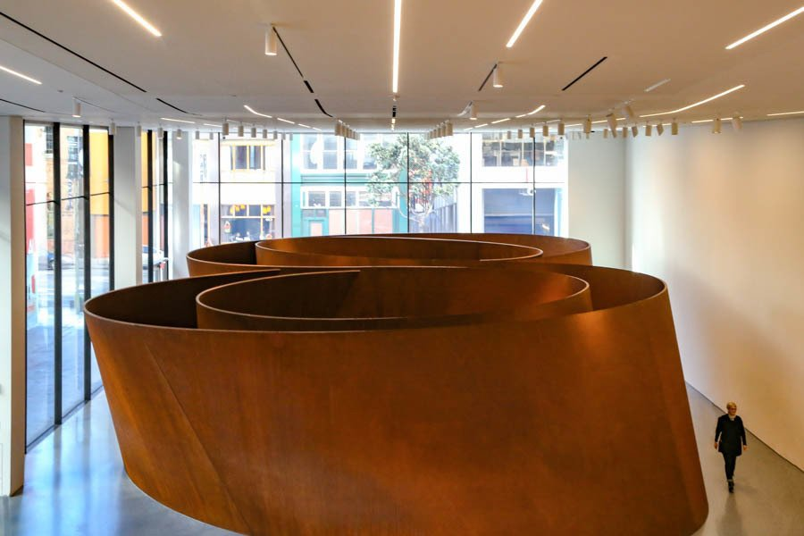 The new lobby extends to provide a new entrance on Howard Street, San Francisco, and showcasing the beautiful interactive art of Richard Serra.  Photo 7 of 7 in The Power of Design That is Snøhetta