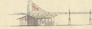 A delightful color pencil sketch for a gas station/store/house that was drawn in the 1940's but never built.