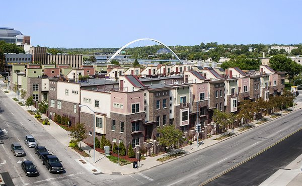 The Riverwalk Brownstones were the second phase of a very successful urban infill project.