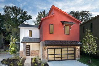 Contemporary and transitional designs may incorporate sloped roofs or use non-traditional materials and color to redefine an otherwise traditional elevation.