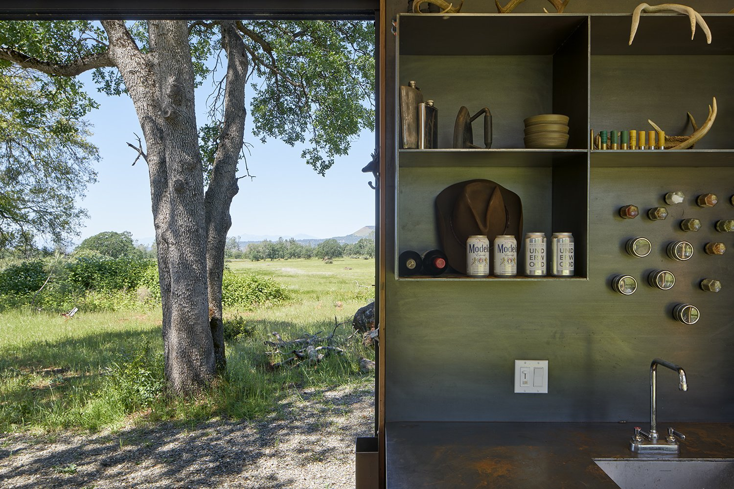 Kitchen, Metal Counter, Open Cabinet, and Drop In Sink  Container Cabin by YAMAMAR Design