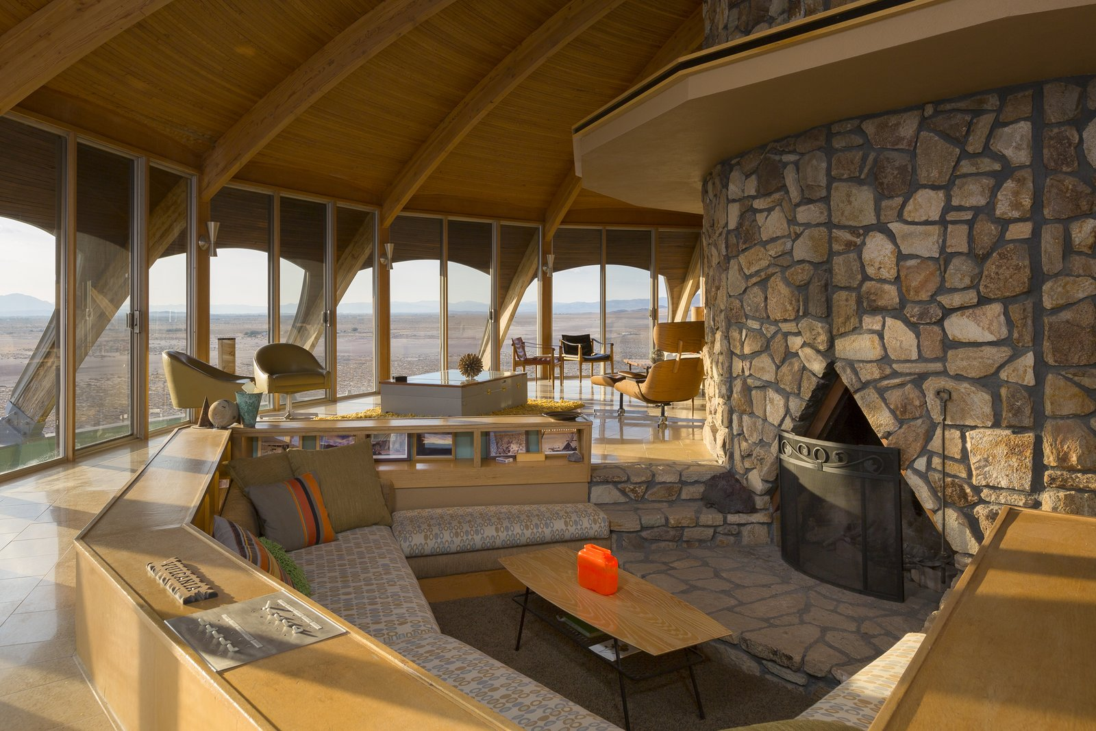 Living Room and Wood Burning Fireplace  Volcano House by lance gerber