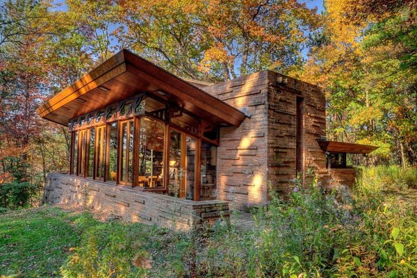 Exterior, Glass Siding Material, Brick Siding Material, Shed RoofLine, House Building Type, and Flat RoofLine  Photo 2 of 10 in 10 Frank Lloyd Wright Buildings We Love from Travel by Design: Rent a Wright