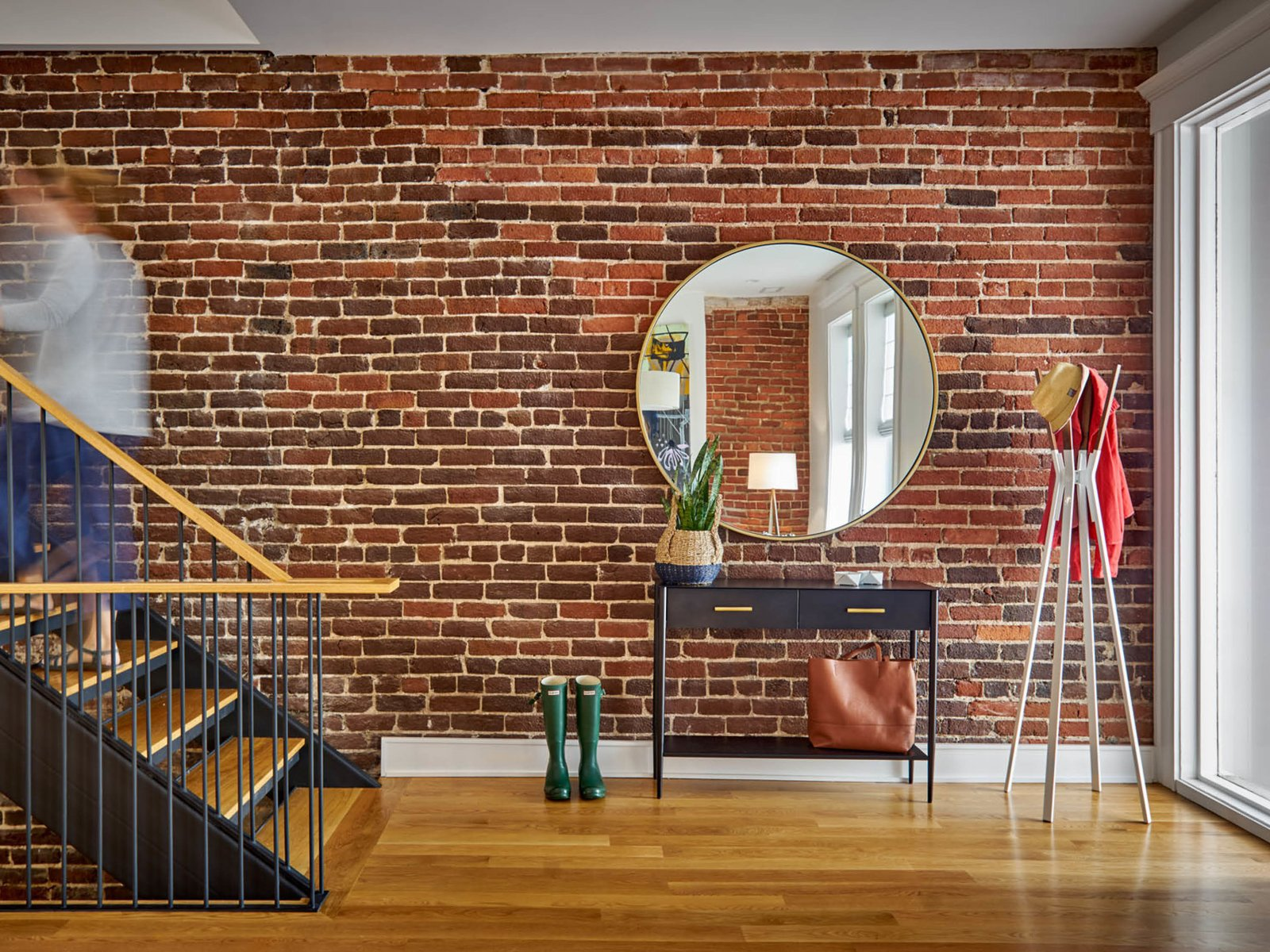 Staircase, Wood Tread, Metal Railing, and Wood Railing Entry  The Historic Ely Building