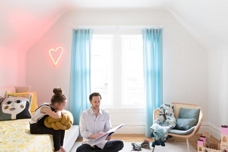 Kids Room, Bedroom Room Type, Light Hardwood Floor, Girl Gender, Pre-Teen Age, Chair, and Bed    Noe Valley Parisian Atelier by Regan Baker Design