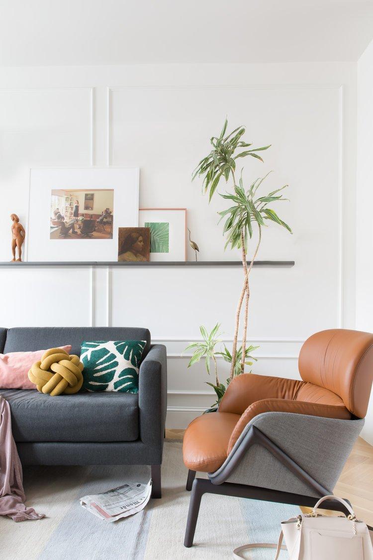 Living Room, Chair, Sofa, Ceiling Lighting, and Light Hardwood Floor    Noe Valley Parisian Atelier by Regan Baker Design
