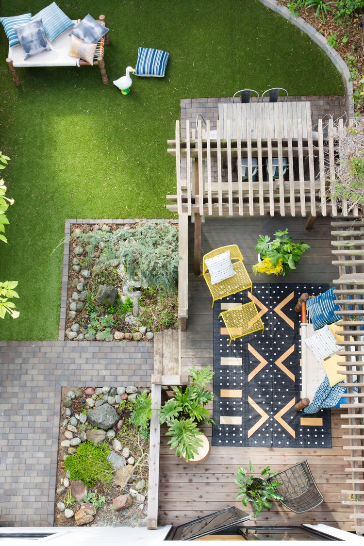 Outdoor, Grass, Wood Patio, Porch, Deck, Back Yard, Small Patio, Porch, Deck, and Walkways    Noe Valley Parisian Atelier by Regan Baker Design