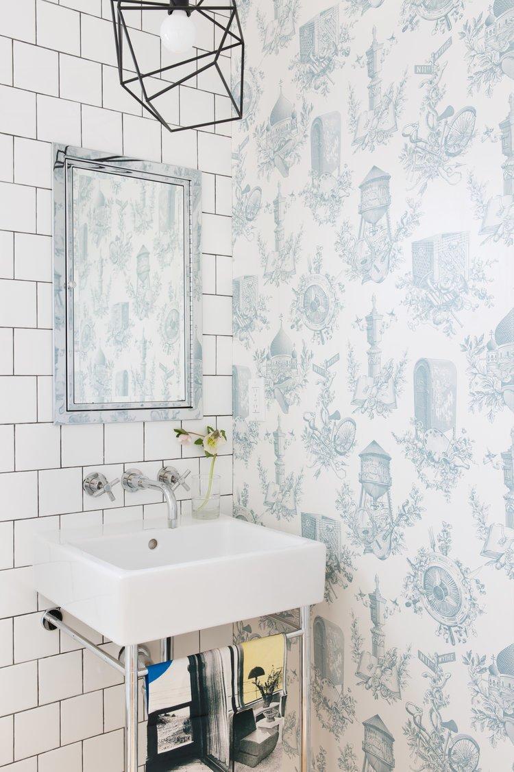 Bath Room and Pendant Lighting    Noe Valley Parisian Atelier by Regan Baker Design