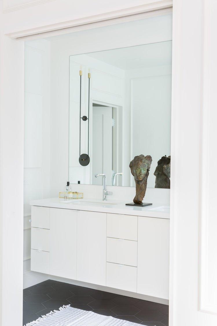 Bath Room, Ceramic Tile Floor, and Wall Lighting    Noe Valley Parisian Atelier by Regan Baker Design