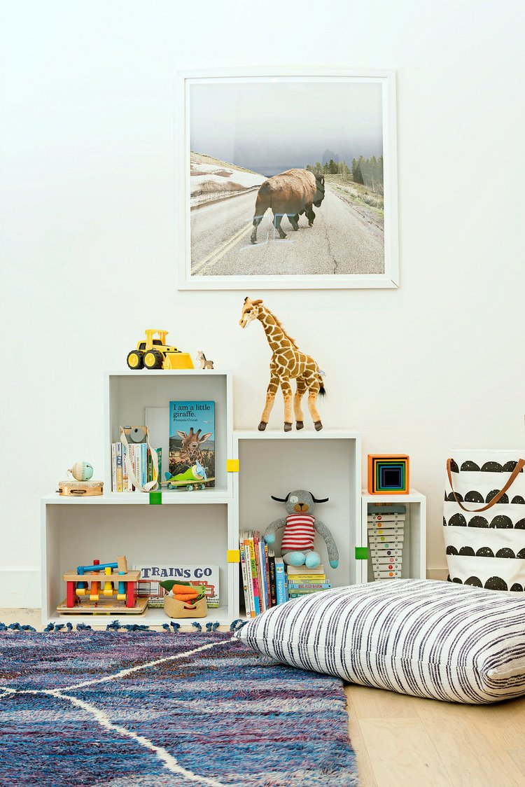 Kids, Storage, Toddler, Playroom, Light Hardwood, Neutral, and Bookcase     Best Kids Storage Playroom Bookcase Photos from Casual Hip Marin County