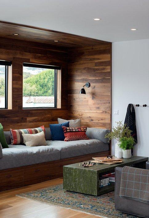 Living Room, Wall Lighting, Medium Hardwood Floor, Sofa, and Ceiling Lighting    Glen Park Spanish Modern