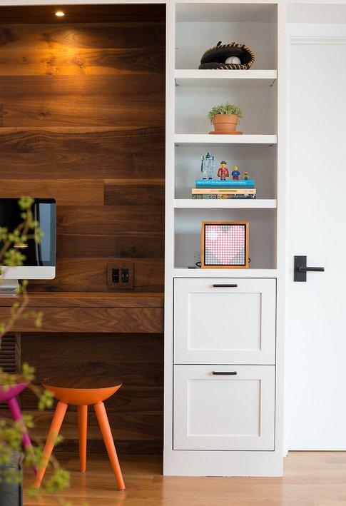 Living Room, Bookcase, Storage, Medium Hardwood Floor, and Ceiling Lighting    Glen Park Spanish Modern