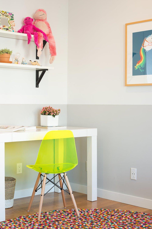 Kids, Bedroom, Chair, Desk, Medium Hardwood, Storage, Pre-Teen, Girl, and Shelves    Best Kids Chair Shelves Photos from Glen Park Spanish Modern