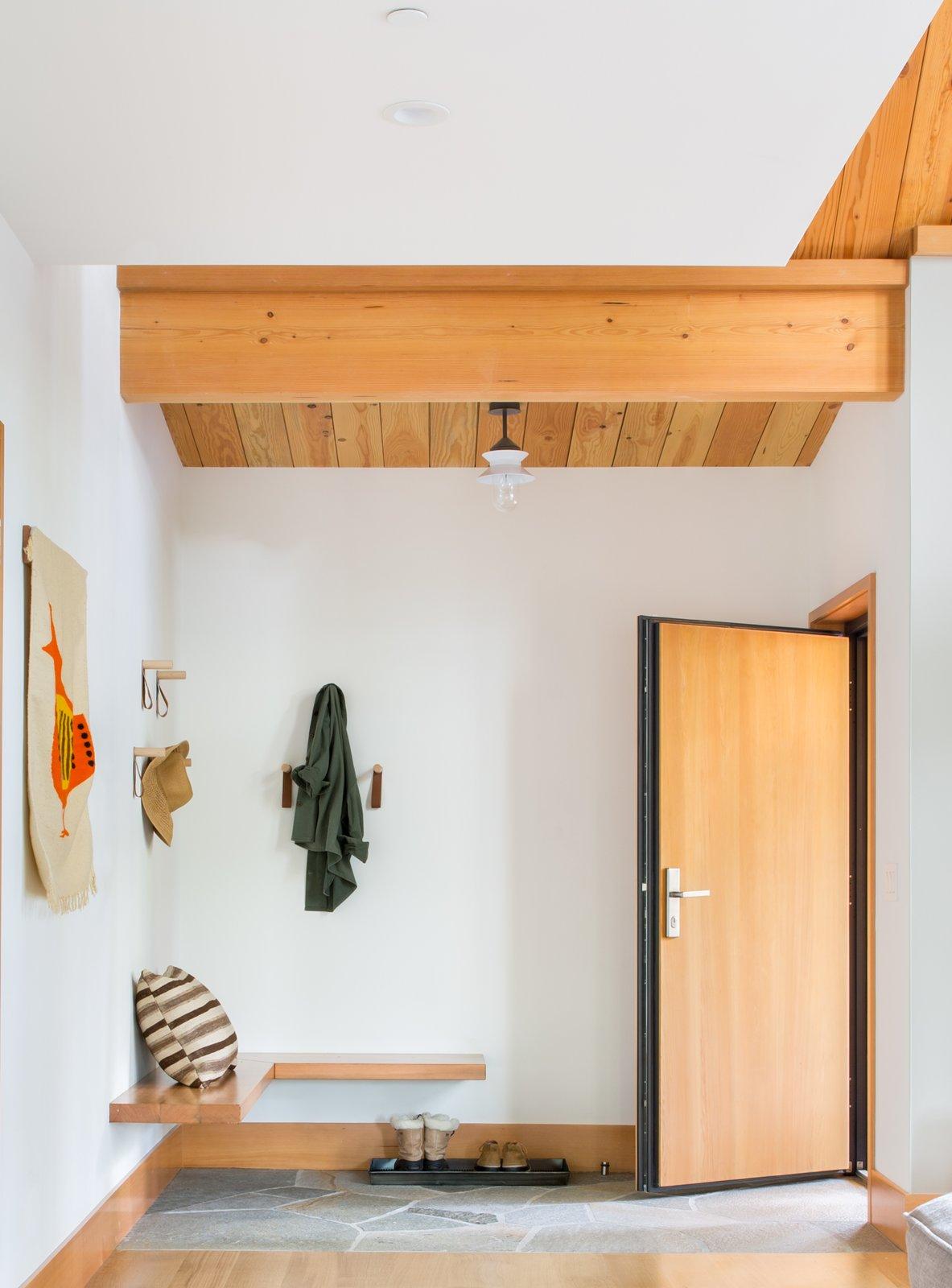 Hallway and Light Hardwood Floor  Woodsy Tahoe Cabin by Regan Baker Design