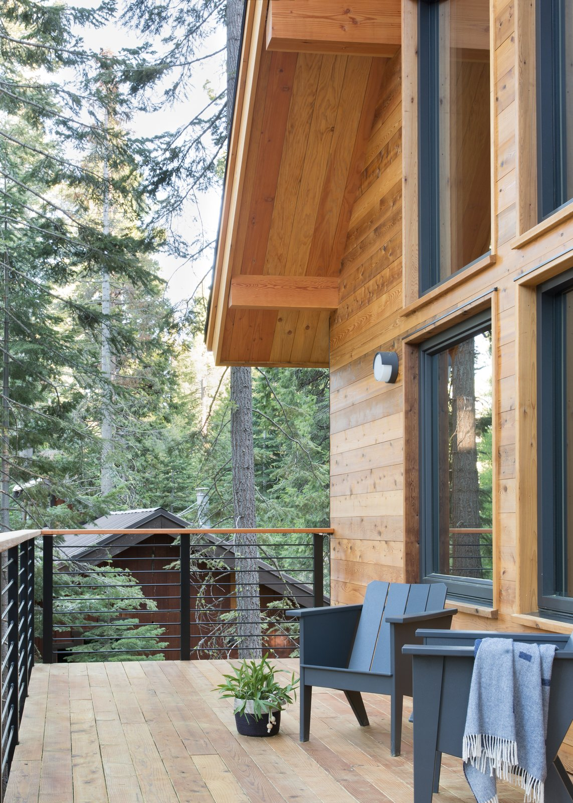 Outdoor, Wood Patio, Porch, Deck, Small Patio, Porch, Deck, Back Yard, and Metal Patio, Porch, Deck  Woodsy Tahoe Cabin by Regan Baker Design