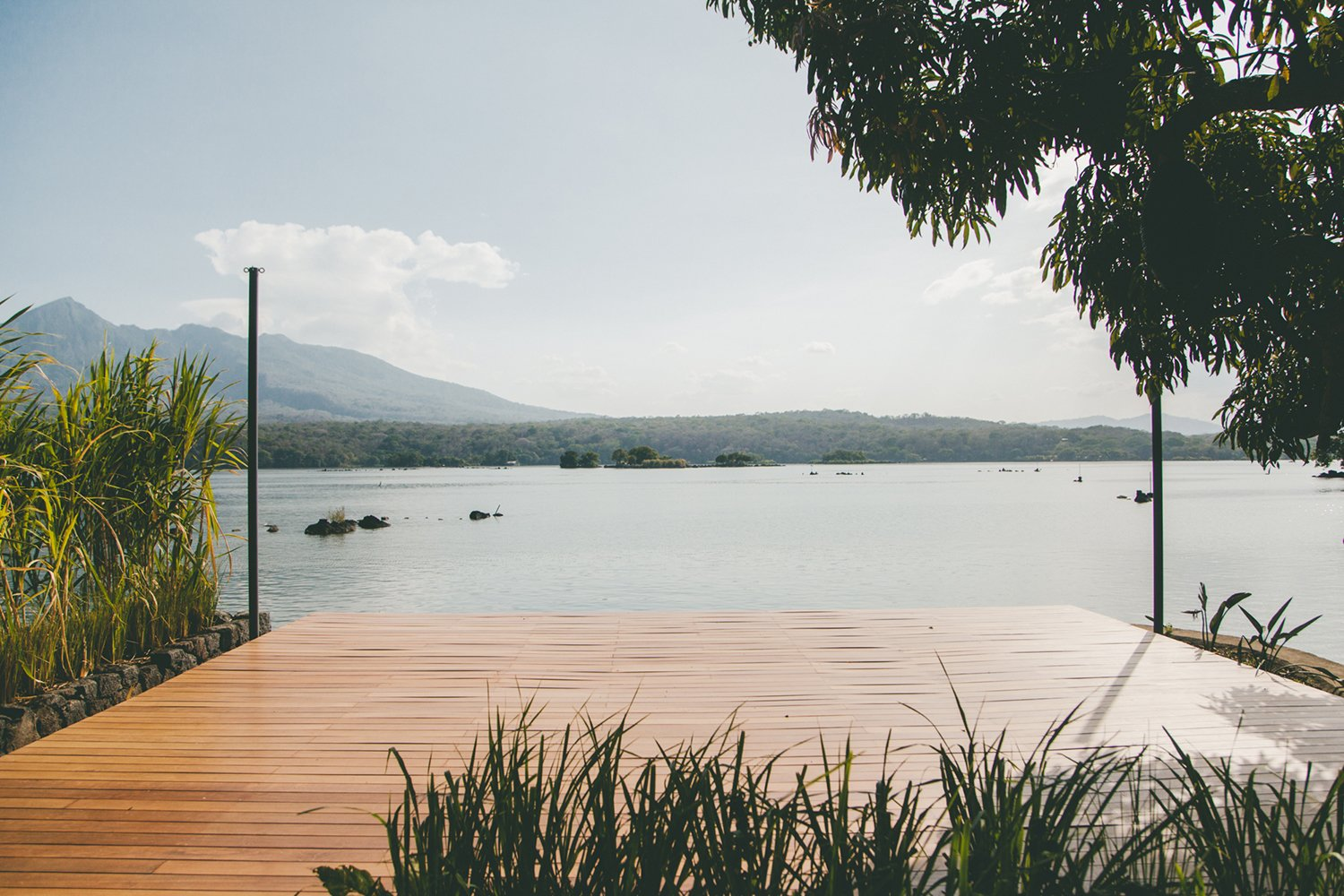 Outdoor, Large Patio, Porch, Deck, Wood Patio, Porch, Deck, and Trees  Photo 12 of 12 in Isleta El Espino: A Three-Room Eco Hotel on Lake Nicaragua