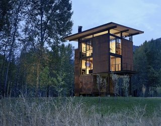 Inside Washington State's Steel Cabin On Stilts - Photo 1 of 5 -