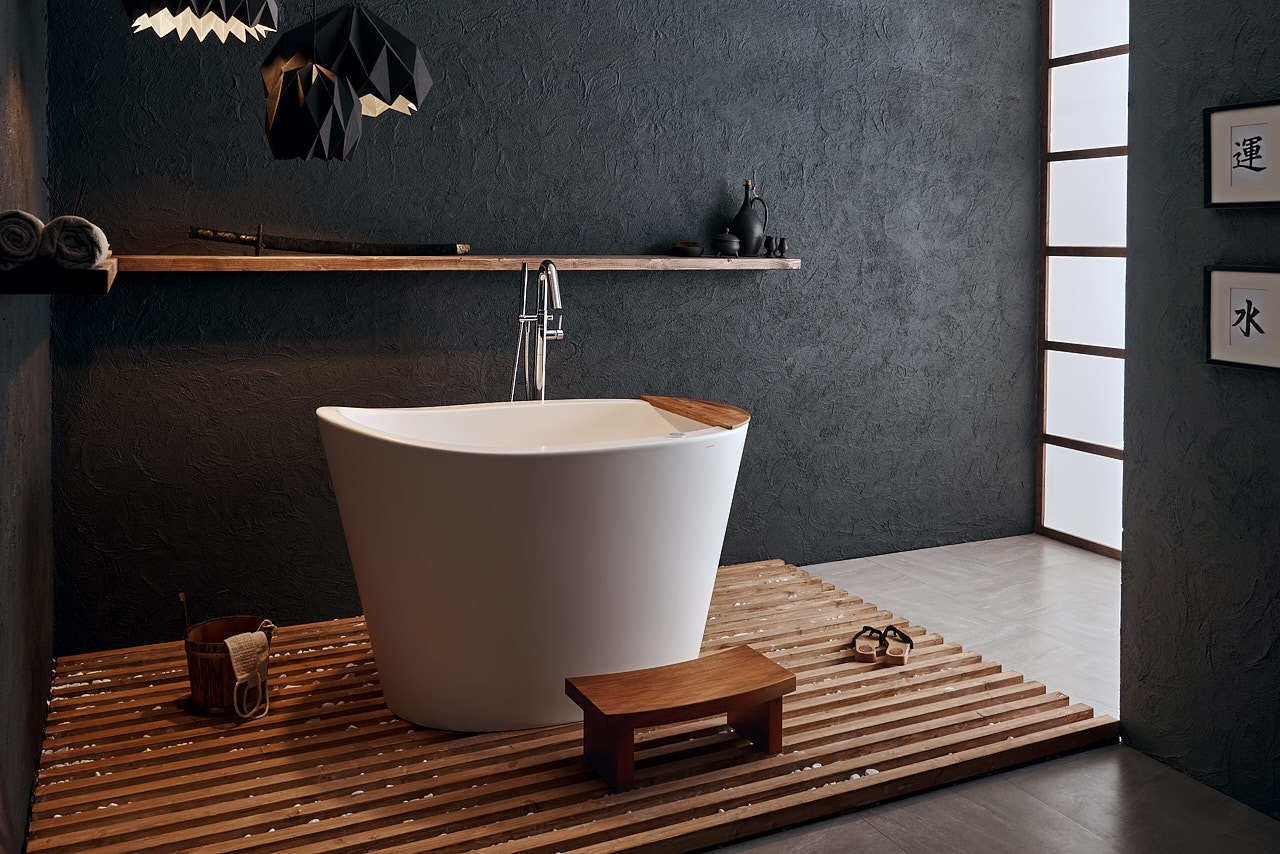 Photo 1 of 1 in Aquatica True Ofuro Japanese Deep Soaking Freestanding Bathtub