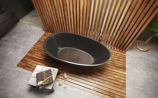 Spoon 2 Black Graphite solid surface bathtub offers a spacious interior for up to two bathers