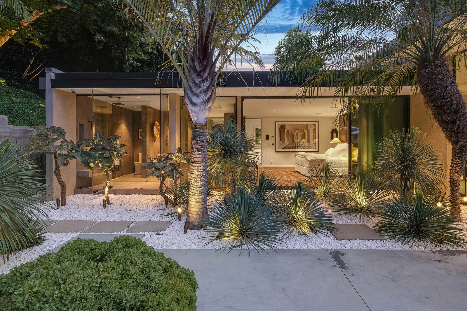 Outdoor, Concrete Patio, Porch, Deck, Stone Patio, Porch, Deck, Trees, Large Pools, Tubs, Shower, Shrubs, Large Patio, Porch, Deck, and Back Yard  A Midcentury Modern Oasis in Bel Air