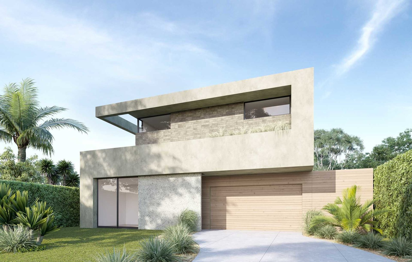 Exterior, Concrete Siding Material, House Building Type, Flat RoofLine, and Stone Siding Material  A Newly-Built Modern Hilltop Home in Mar Vista
