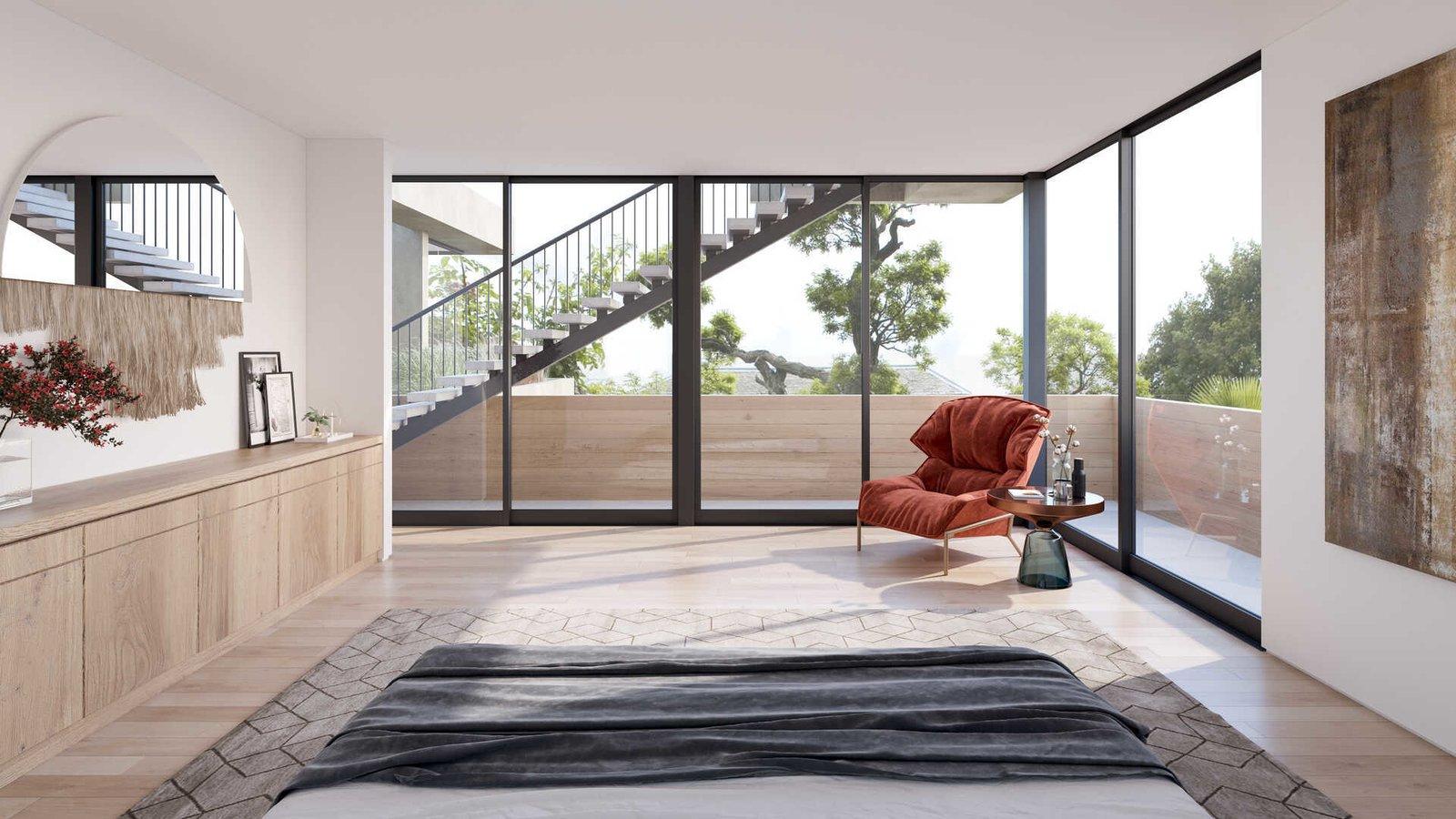 Living Room, Chair, and Light Hardwood Floor  A Newly-Built Modern Hilltop Home in Mar Vista