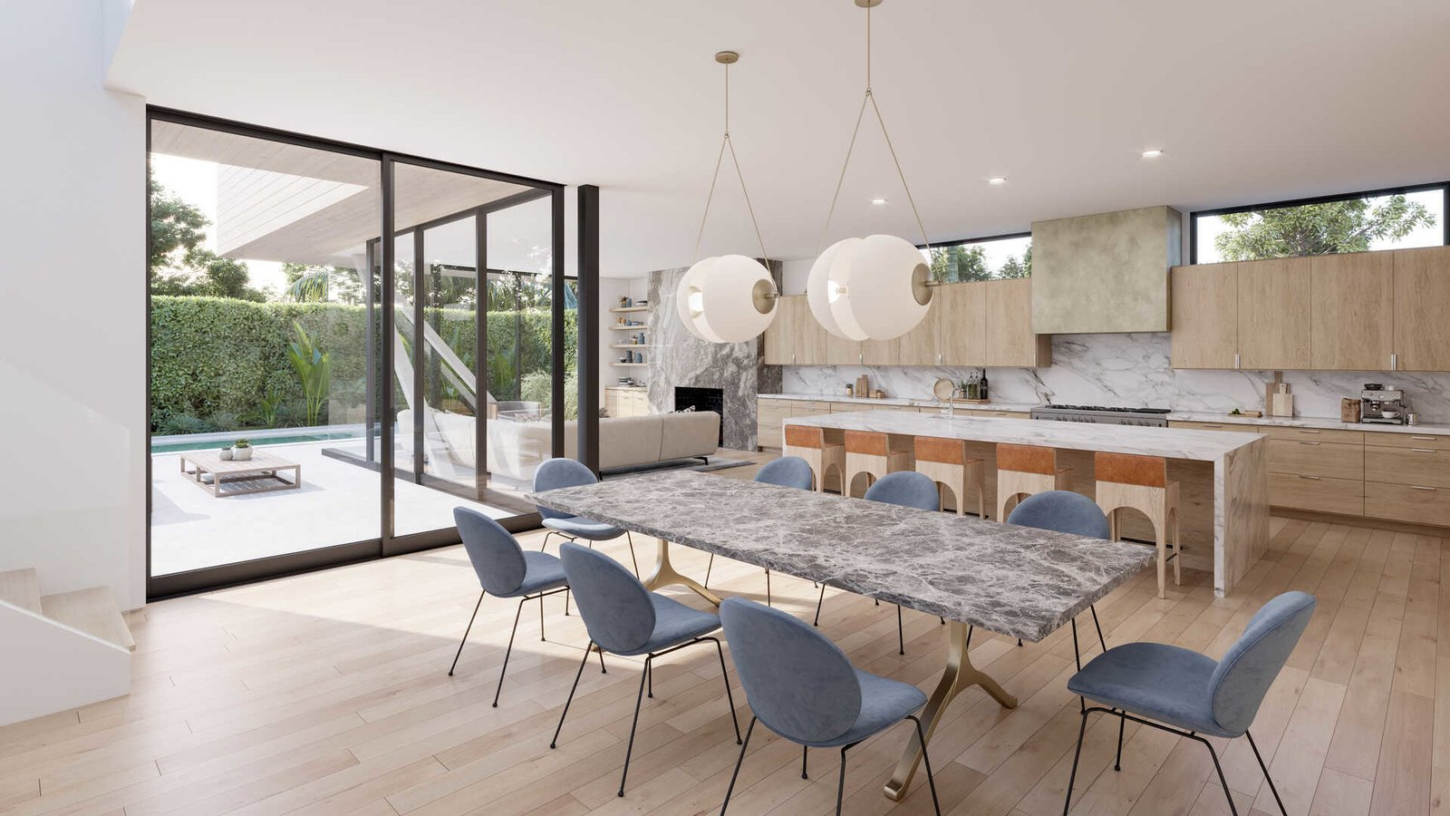 Kitchen, Pendant Lighting, Light Hardwood Floor, Stone Counter, Recessed Lighting, Marble Counter, Stone Slab Backsplashe, and Wood Cabinet  A Newly-Built Modern Hilltop Home in Mar Vista