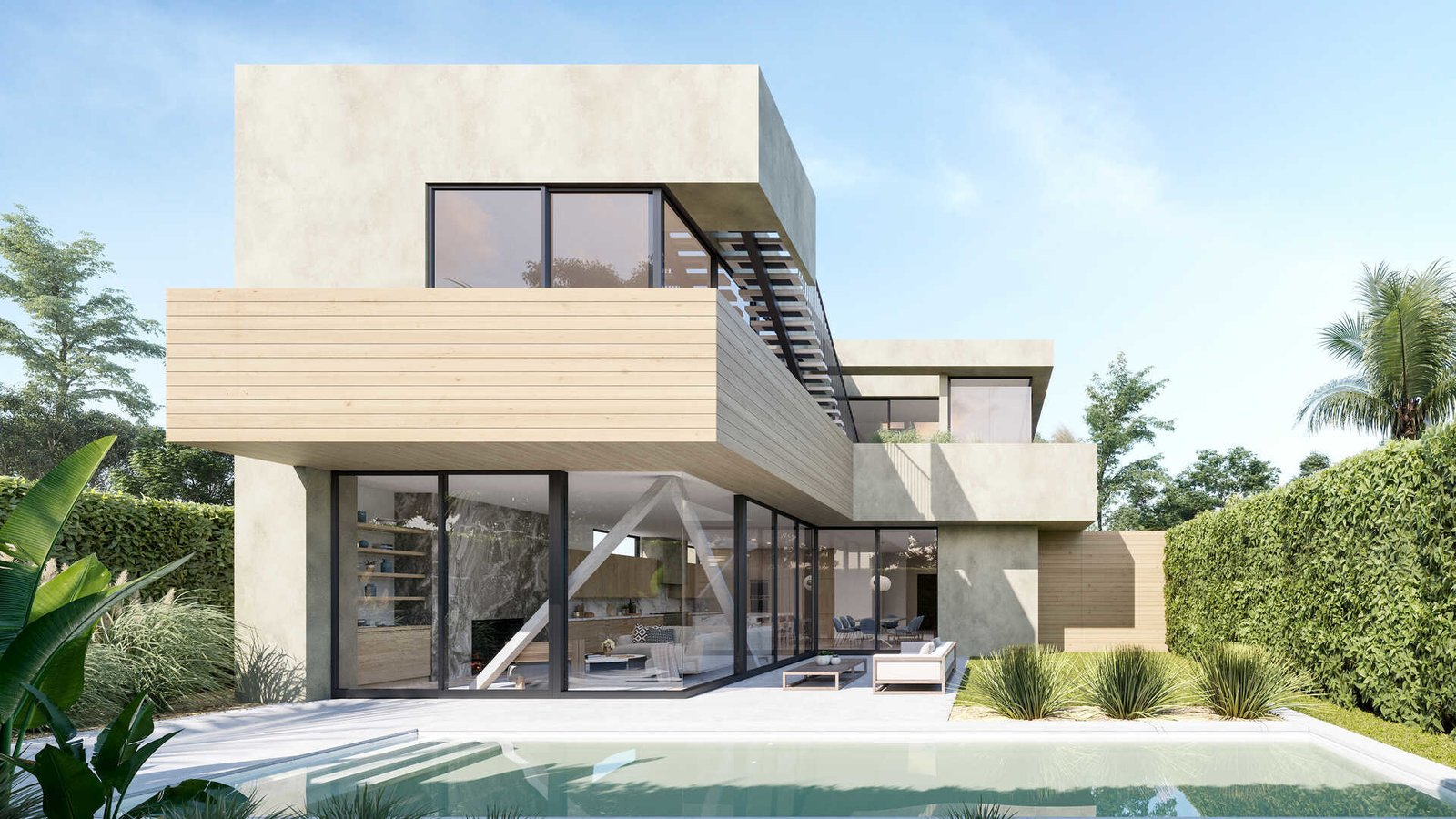 Outdoor, Concrete Patio, Porch, Deck, Large Patio, Porch, Deck, Back Yard, Grass, Large Pools, Tubs, Shower, Shrubs, and Swimming Pools, Tubs, Shower  A Newly-Built Modern Hilltop Home in Mar Vista