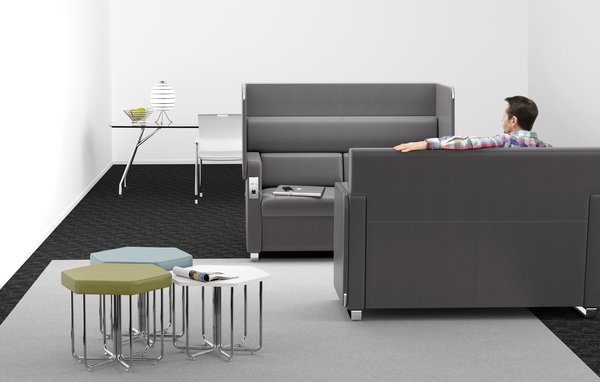 Featured: OFM's wired Morph Series Sofa and Hex Series Stools and Table (in front), and Glass Conference Table and Smart Series Stack Chair (in back).