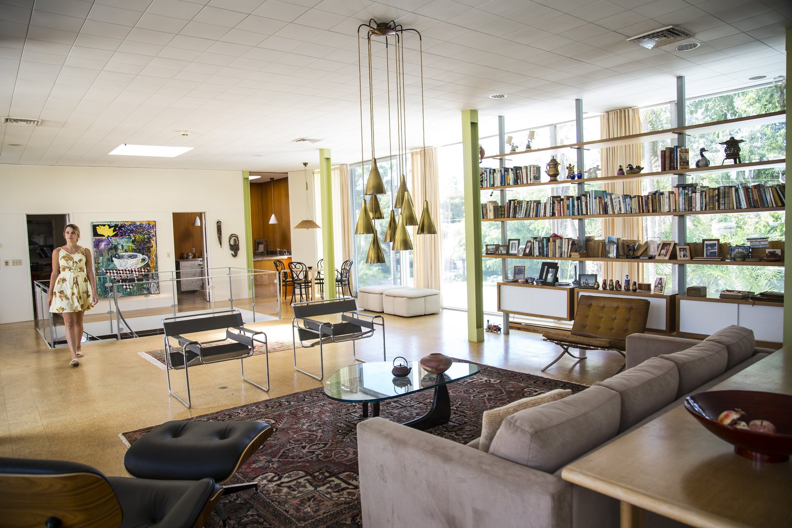 Living Room, Ceiling Lighting, Pendant Lighting, Cork Floor, Rug Floor, Sofa, Chair, Console Tables, Coffee Tables, Bookcase, Recliner, and Ottomans  Hiss Studio