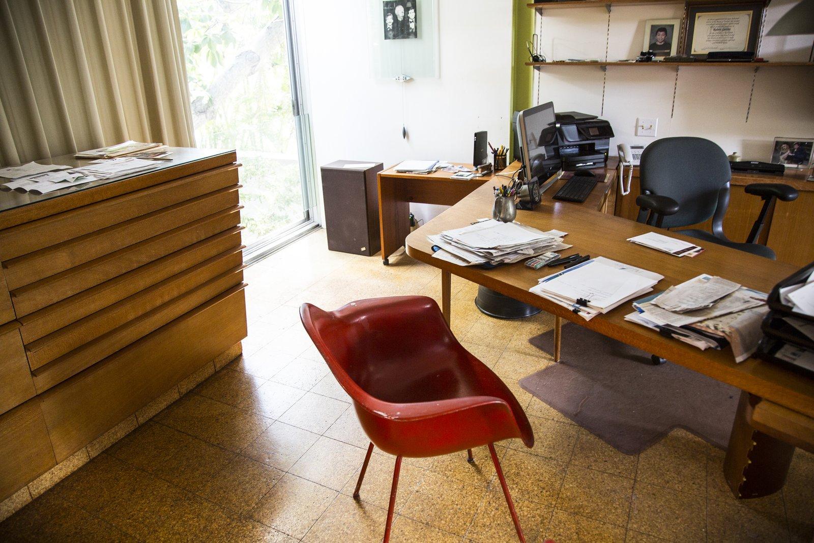 Office, Study Room Type, Chair, Bookcase, Storage, Shelves, Cork Floor, and Desk  Hiss Studio