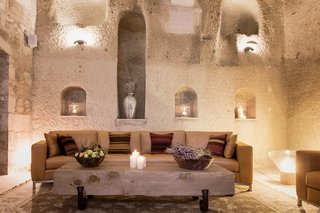 The House Hotel Cappadocia in the Turkish town of Ortahisar, Cappadocia, still retains original features like frescoes and crown moldings, while introducing modern amenities like sleek, freestanding baths and a luxury Haman spa.