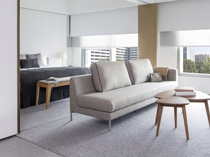 Located near the bustling commercial area of Kowloon and the heritage district of Yau Ma Tei, modern Japanese and Scandinavian influences meet at Hotel Stage, with clean, fresh rooms in light greys, taupe and warm woods.  Photo 6 of 11 in 10 Modern and Stylish Places to Stay in Hong Kong