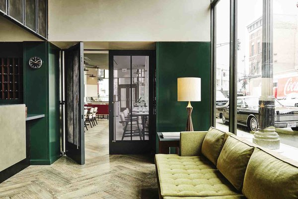 Designed by Nicolas Schuybroek Architects and Marc Merckx Interiors, The Robey is housed in a 1929 office building. Its mix of vintage and custom-made furnishings combines midcentury design with a touch of art deco.