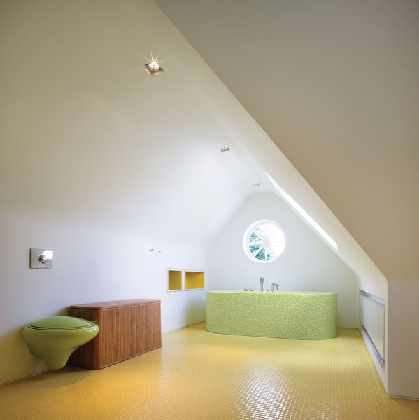 Storage, Shelves, Table, Chair, One Piece, Bath, Recessed, Ceramic Tile, Soaking, and Freestanding  Best Bath Recessed Table Photos from Bright Bauhaus Colors Fill This Brick Edwardian House in London
