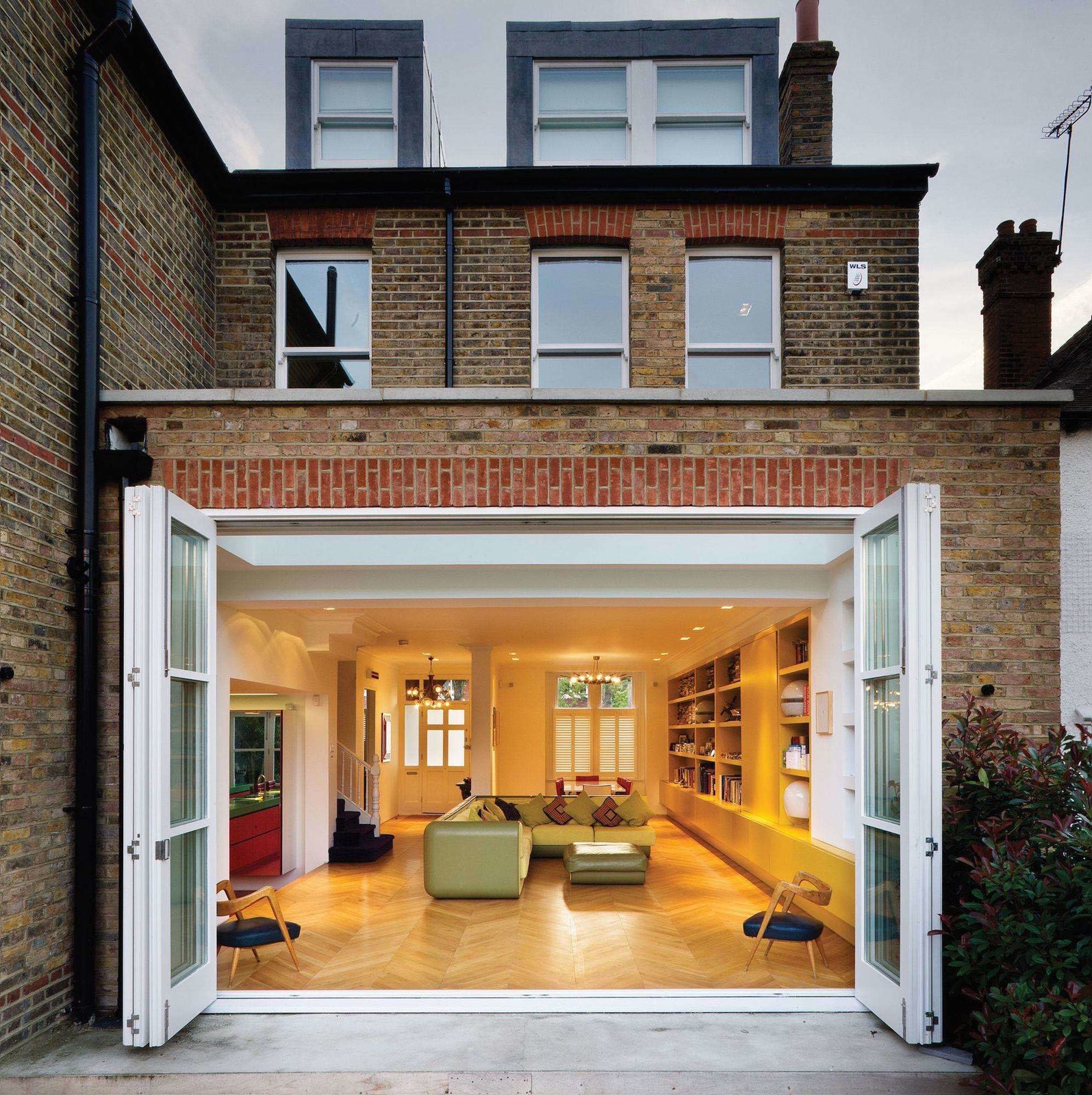 Storage, Wall Mount, Shelves, Bed, Table, Sofa, Light Hardwood, Living, and Recessed  Best Living Wall Mount Photos from Bright Bauhaus Colors Fill This Brick Edwardian House in London