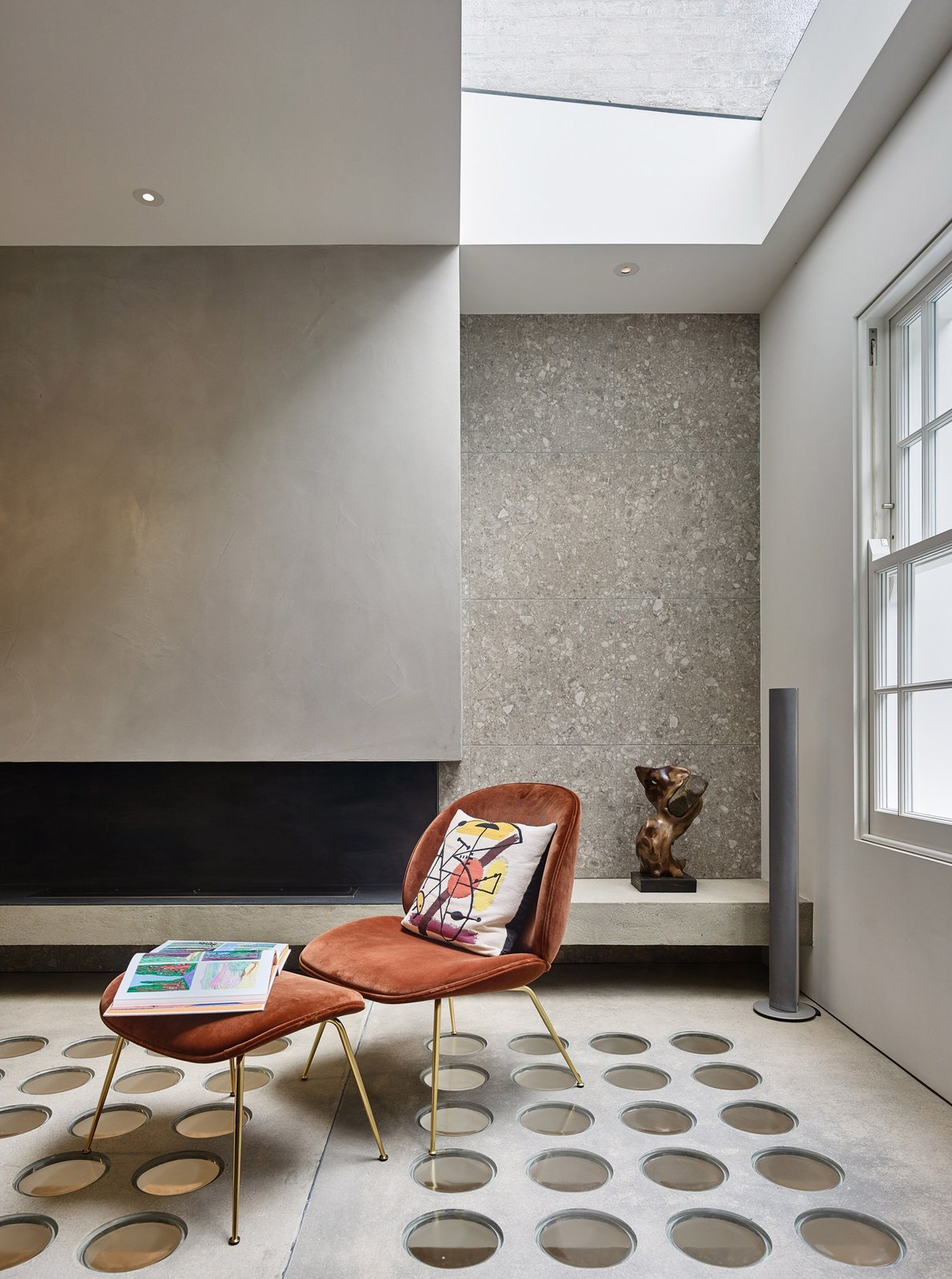 Living Room and Chair  Photo 7 of 12 in Transparent Perforated Circles Bring Light and Movement to This London Terrace House