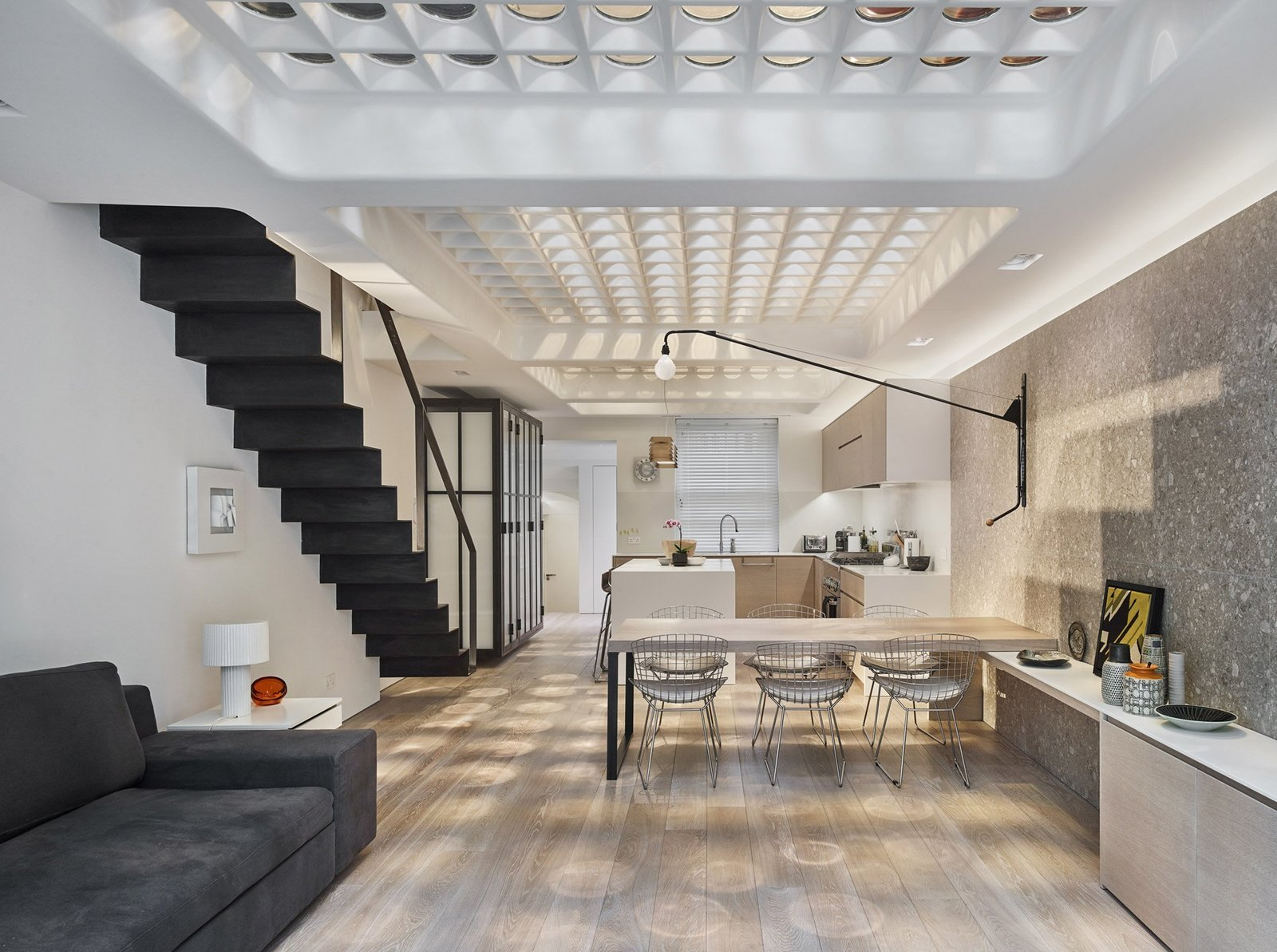 Dining Room  Photo 12 of 12 in Transparent Perforated Circles Bring Light and Movement to This London Terrace House