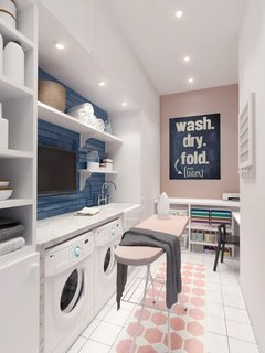 Designed by Russian practice INT2 Architecture, this Scandinavian-inspired two-story home near Lake Malakhovskoye in Russia has a commodious pastel-colored laundry room with a compact sewing nook.
