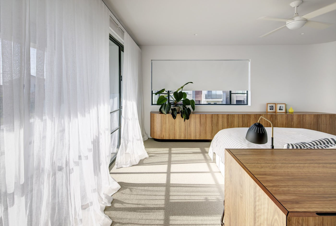 Bedroom, Storage, Bed, and Carpet Floor  Photo 9 of 11 in A Heritage Art Deco House in Australia Gets a Modern Update